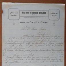 Cartas comerciales: CARTA ALMACEN CURTIDOS HIJO Y SUCESOR DE HERMENEGILDO TORRES GONZALEZ PORCUNA (JAEN) 1926 CALZADO. Lote 198095848