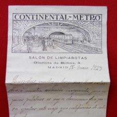 Cartas comerciales: SALÓN DE LIMPIABOTAS. CONTINENTAL - METRO. MADRID. AÑO: 1923. . Lote 198234896