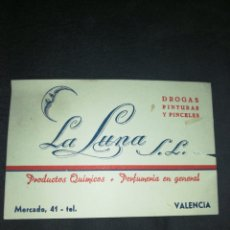 Cartas comerciales: ANTIGUA TARJETA DE VISITA, VALENCIA, DROGUERÍA LA LUNA.. Lote 198256668