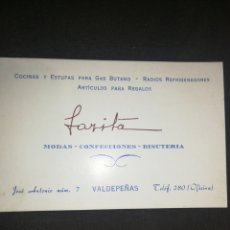 Cartas comerciales: VALDEPEÑAS, ANTIGUA TARJETA DE VISITA.. Lote 198256895