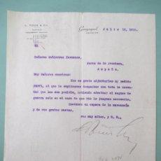 Lettres commerciales: CARTA COMERCIAL. L. TOUS & CO. GUAYAQUIL 1915. TOUSIMPORT. GUTIERREZ HERMANOS. JEREZ. Lote 198319661