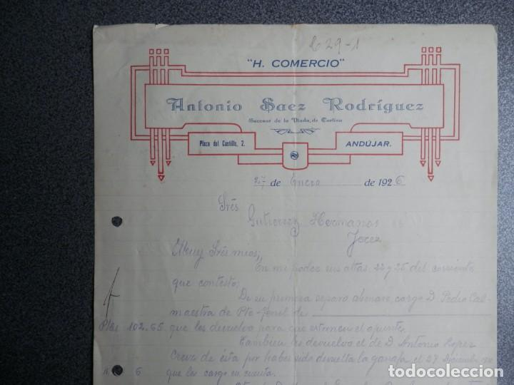 ANDUJAR JAÉN CARTA COMERCIAL AÑO 1926 HOTEL COMERCIO DE ANTONIO SAEZ RODRÍGUEZ (Coleccionismo - Documentos - Cartas Comerciales)