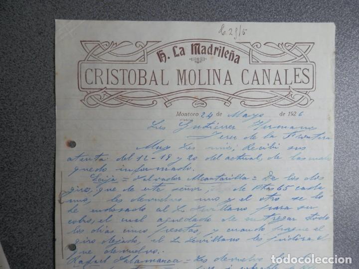 MONTORO CÓRDOBA CARTA COMERCIAL AÑO 1926 HOTEL LA MADRILEÑA DE CRISTOBAL MOLINA CANALES (Coleccionismo - Documentos - Cartas Comerciales)