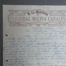 Cartas comerciales: MONTORO CÓRDOBA CARTA COMERCIAL AÑO 1926 HOTEL LA MADRILEÑA DE CRISTOBAL MOLINA CANALES. Lote 198323236