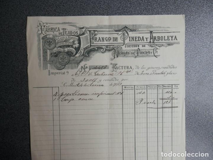 SEVILLA CARTA COMERCIAL AÑO 1913 FÁBRICA DE TEJIDOS FRANCISCO DE PINEDA Y ARBOLEYA (Coleccionismo - Documentos - Cartas Comerciales)