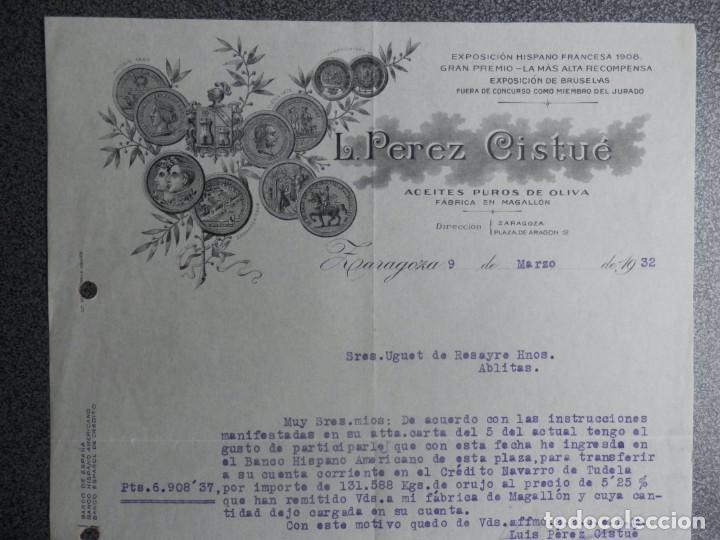 ZARAGOZA CARTA COMERCIAL AÑO 1932 ACEITES DE OLIVA L. PÉREZ CISTUÉ (Coleccionismo - Documentos - Cartas Comerciales)