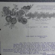 Cartas comerciales: ZARAGOZA CARTA COMERCIAL AÑO 1932 ACEITES DE OLIVA L. PÉREZ CISTUÉ. Lote 198353511