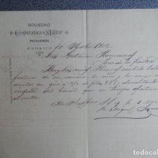 Lettere commerciali: BADAJOZ CARTA COMERCIAL AÑO 1902 SOCIEDAD COOPERATIVA MILITAR. Lote 198490382