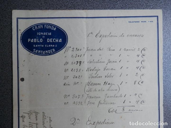 SANTANDER LOTE 7 CARTAS COMERCIALES AÑO 1926 GRAN FONDA IGNACIA DE PABLO DECHA (Coleccionismo - Documentos - Cartas Comerciales)