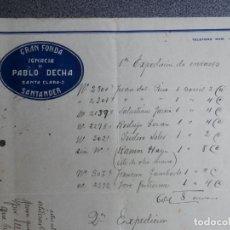 Cartas comerciales: SANTANDER LOTE 7 CARTAS COMERCIALES AÑO 1926 GRAN FONDA IGNACIA DE PABLO DECHA. Lote 198498032