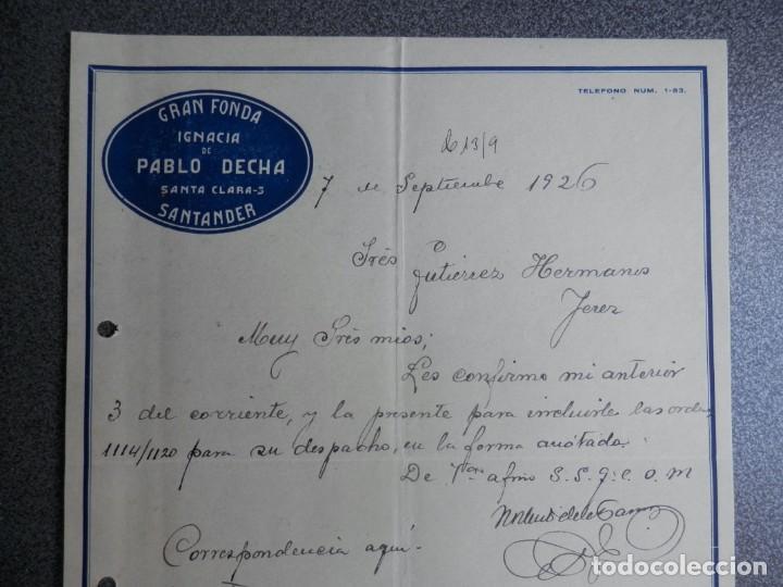 Cartas comerciales: SANTANDER LOTE 7 CARTAS COMERCIALES AÑO 1926 GRAN FONDA IGNACIA DE PABLO DECHA - Foto 3 - 198498032