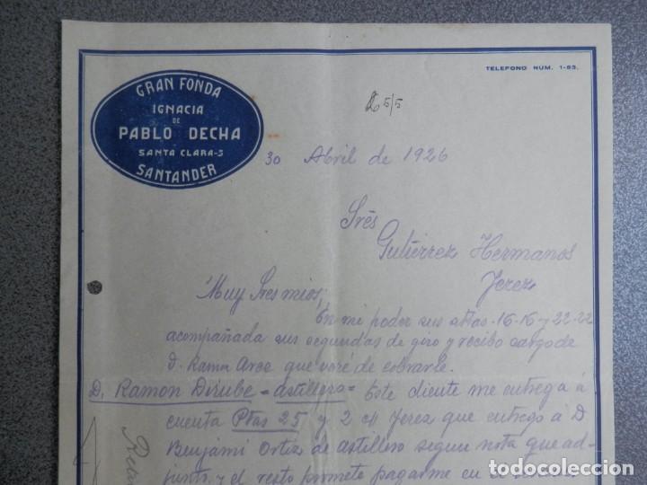 Cartas comerciales: SANTANDER LOTE 7 CARTAS COMERCIALES AÑO 1926 GRAN FONDA IGNACIA DE PABLO DECHA - Foto 5 - 198498032