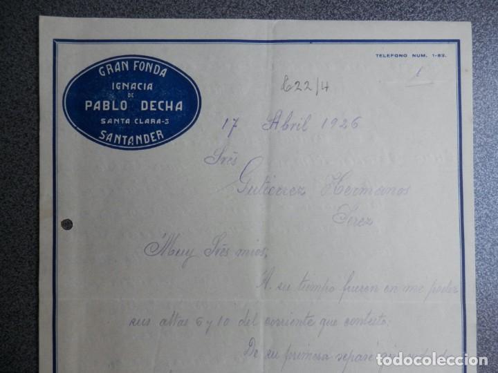 Cartas comerciales: SANTANDER LOTE 7 CARTAS COMERCIALES AÑO 1926 GRAN FONDA IGNACIA DE PABLO DECHA - Foto 6 - 198498032