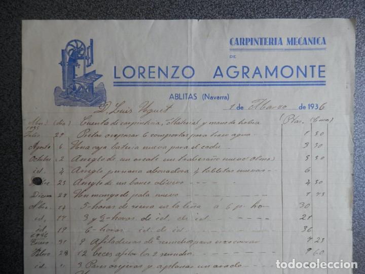 Cartas comerciales: ABLITAS NAVARRA LOTE 2 CARTAS COMERCIALES AÑO 1936 AUTOBUSES LUICO LABARGA Y CARPINTERÍA L AGRAMONTE - Foto 2 - 198499372