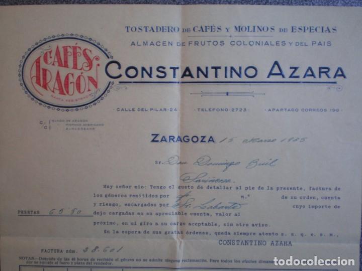 ZARAGOZA CARTA COMERCIAL AÑO 1935 CAFÉS ARAGÓN DE CONSTANTINO AZAGRA (Coleccionismo - Documentos - Cartas Comerciales)