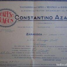 Cartas comerciales: ZARAGOZA CARTA COMERCIAL AÑO 1935 CAFÉS ARAGÓN DE CONSTANTINO AZAGRA. Lote 198533050