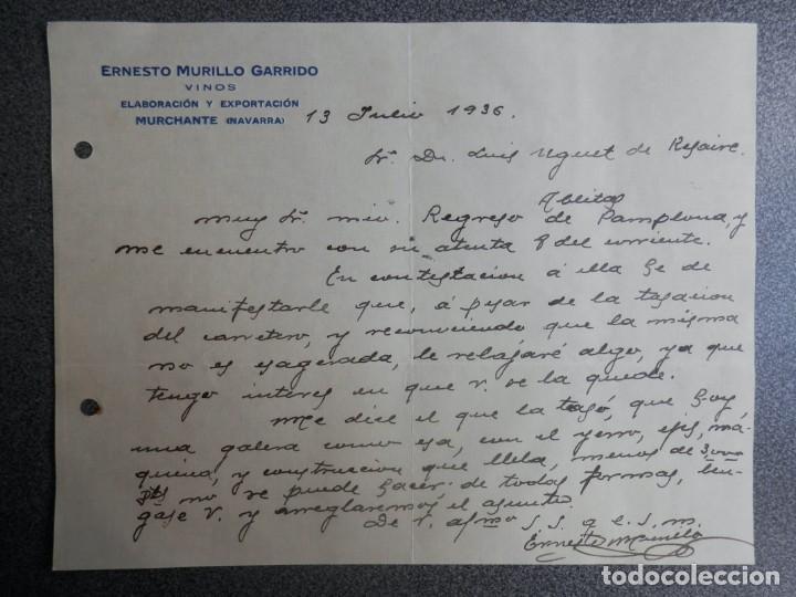 MURCHANTE NAVARRA CARTA COMERCIAL AÑO 1936 VINOS ERNESTO MURILLO GARRIDO (Coleccionismo - Documentos - Cartas Comerciales)