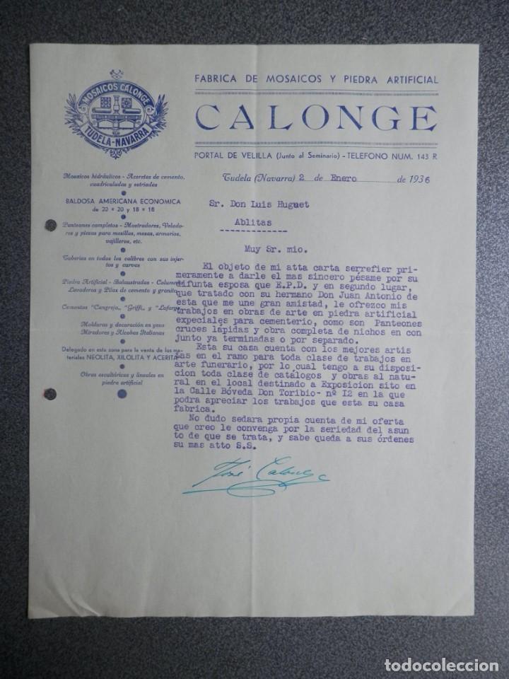 TUDELA NAVARRA CARTA COMERCIAL AÑO 1936 FÁBRICA MOSAICOS CALONGE - BONITA (Coleccionismo - Documentos - Cartas Comerciales)