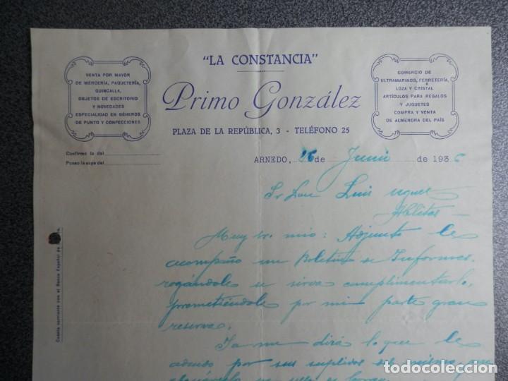 ARNEDO LA RIOJA CARTA COMERCIAL AÑO 1936 MERCERIA, QUINCALLA, LA CONSTANCIA DE PRIMO GONZÁLEZ (Coleccionismo - Documentos - Cartas Comerciales)