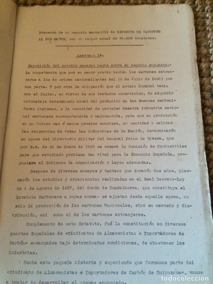 Cartas comerciales: PROYECTO DEPOSITO CARBONES COMPLETO 1938 - Foto 2 - 198879246