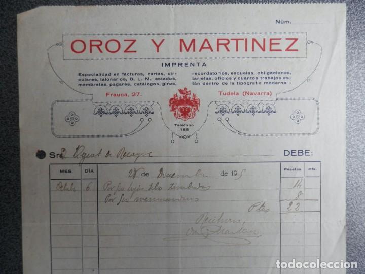 TUDELA NAVARRA DOS FACTURAS AÑO 1925 IMPRENTA OROZ Y MARÍNEZ (Coleccionismo - Documentos - Cartas Comerciales)