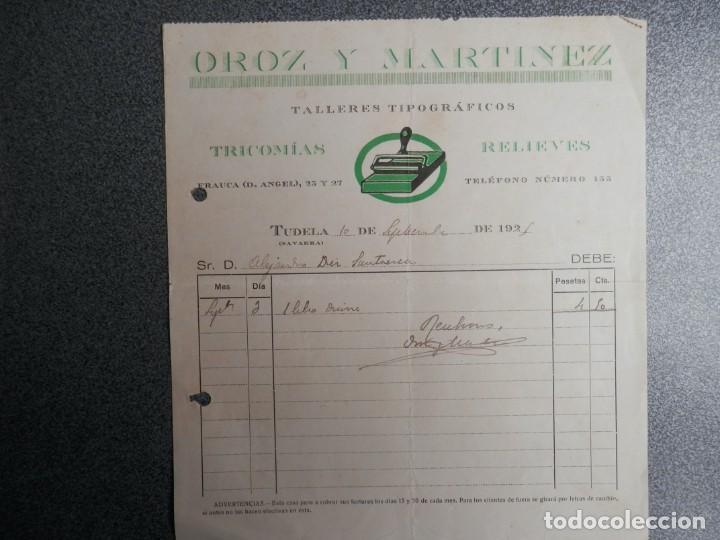Cartas comerciales: TUDELA NAVARRA DOS FACTURAS AÑO 1925 IMPRENTA OROZ Y MARÍNEZ - Foto 2 - 198911990