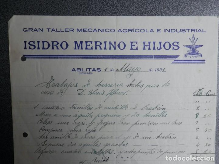 ABLITAS NAVARRA FACTURA TALLER MECÁNICO ISIDRO MERINO (Coleccionismo - Documentos - Cartas Comerciales)