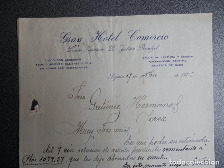 LOGROÑO LOTE 3 CARTAS COMERCIALES AÑOS 1926 GRAN HOTEL COMERCIO - JULIÁN PEÑAFIEL (Coleccionismo - Documentos - Cartas Comerciales)