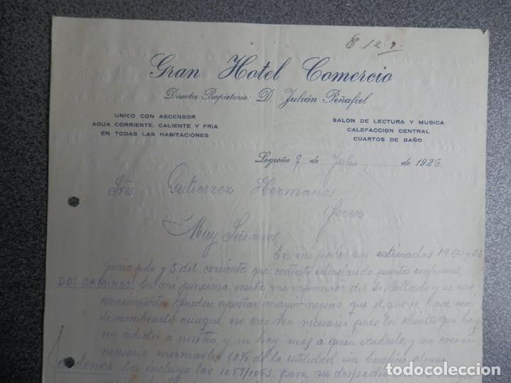 Cartas comerciales: LOGROÑO LOTE 3 CARTAS COMERCIALES AÑOS 1926 GRAN HOTEL COMERCIO - JULIÁN PEÑAFIEL - Foto 2 - 198957950
