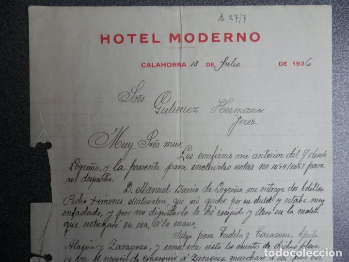 Cartas comerciales: CALAHORRA LA RIOJA LOTE 2 CARTAS COMERCIALES AÑOS 1926 HOTEL MODERNO - Foto 2 - 198958066