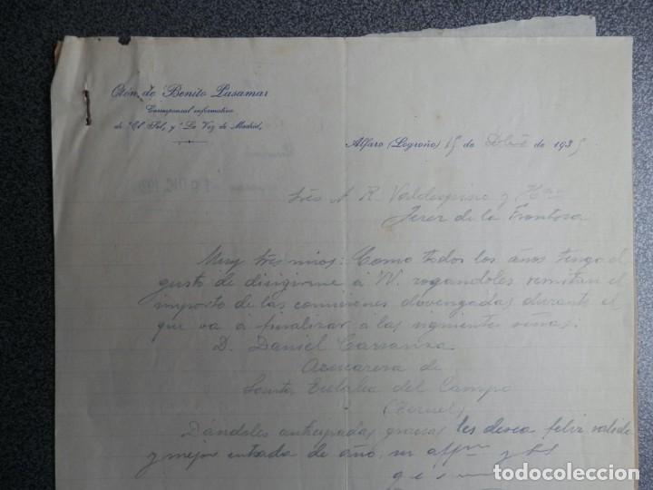 ALFARO LA RIOJA CARTA COMERCIAL AÑOS 1935 OTÓN DE BENITO PASAMAR CORRESPONSAL PERIODISTA (Coleccionismo - Documentos - Cartas Comerciales)