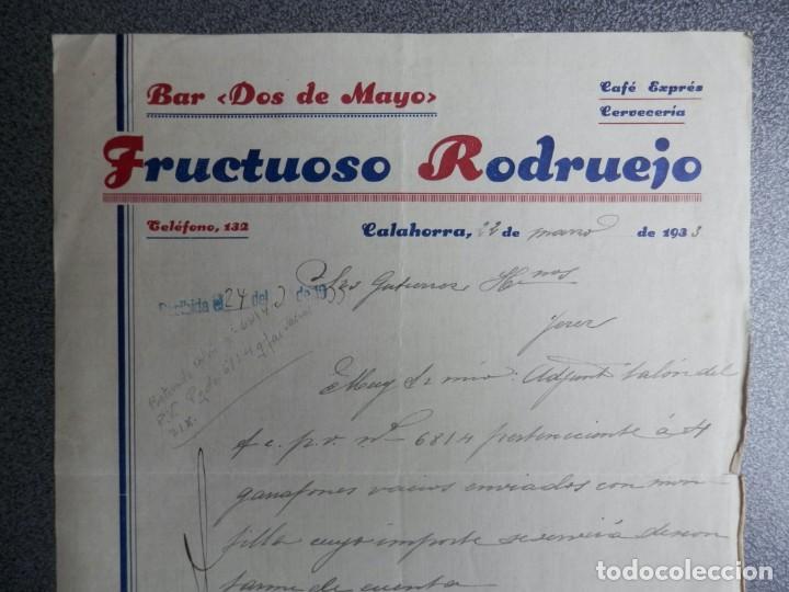 CALAHORRA LA RIOJA CARTA COMERCIAL AÑO 1933 BAR DOS DE MAYO - FRUCTUOSO RODRUEJO (Coleccionismo - Documentos - Cartas Comerciales)