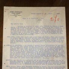 Cartas comerciales: CARTA COMERCIAL. JOSE SANTIAGO DIRIGIDA A A.R. VALDESPINO & HNO. PUERTO CABELLO, VENEZUELA, 1924.VER. Lote 198970221