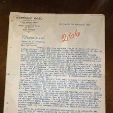 Cartas comerciales: CARTA COMERCIAL. ENRIQUE ROSSO DIRIGIDA A A.R. VALDESPINO & HNO. SAO PAULO, BRASIL, 1927.VER. Lote 198970356