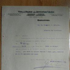 Cartas comerciales: VDA. E HIJOS DE ANTON USON, HIERROS ACEROS CARBONES FERRETERIA, ZARAGOZA. AÑO 1927. Lote 198993428