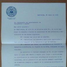 Cartas comerciales: CARTA UNION INDUSTRIAL METALURIGICA BARCELONA 1929 DIRIGIDA AL AYUNTAMIENTO DE VILANOVA I LA GELTRU. Lote 199001138