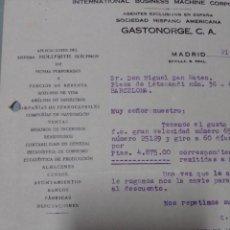 Cartas comerciales: CARTA 1934 COMERCIAL AGENTE IBM EN ESPAÑA. Lote 199035712