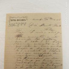 Cartas comerciales: CARTA COMERCIAL HOTEL NACIONAL, SAN PABLO 20, BARCELONA 1905. Lote 199068023