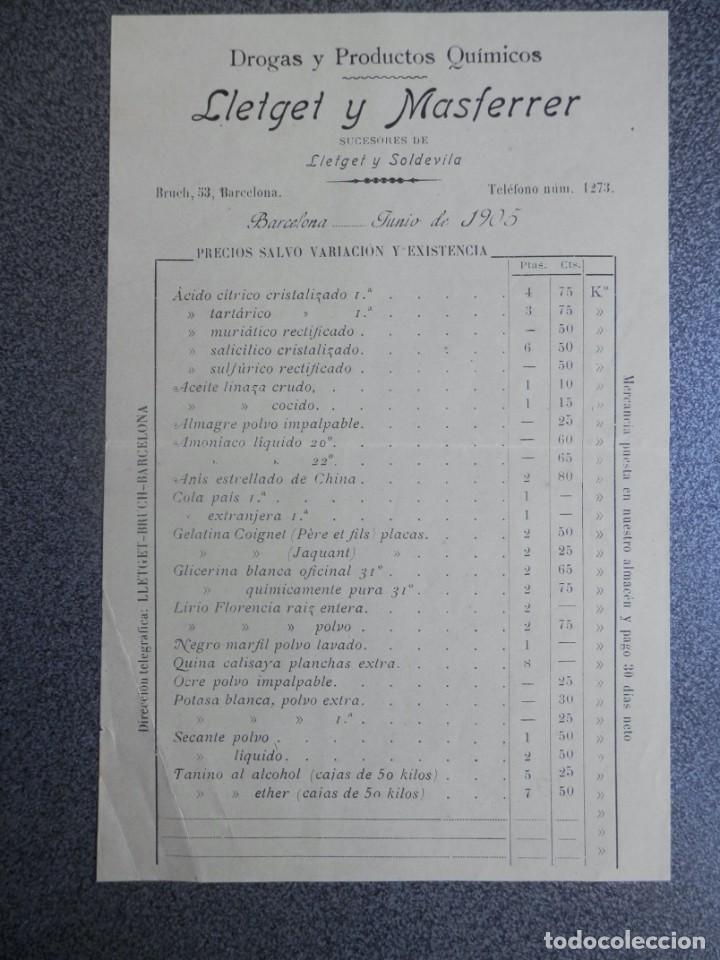 BARCELONA LISTA PRECIOS AÑO 1905 DROGAS Y PRODUCTOS QUÍMICOS LLETGET Y MASFERRER (Coleccionismo - Documentos - Cartas Comerciales)