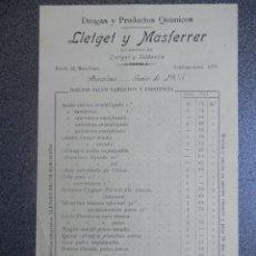 Cartas comerciales: BARCELONA LISTA PRECIOS AÑO 1905 DROGAS Y PRODUCTOS QUÍMICOS LLETGET Y MASFERRER. Lote 199172505