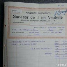 Cartas comerciales: BARCELONA CARTA COMERCIAL Y FACTURA AÑO 1909 TIPOGRAFÍA SUCESOR DE J. DE NEUFVILLE. Lote 199348736