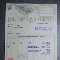 Lettres commerciales: ZARAGOZA CARTA COMERCIAL AÑO 1957 GUIRAL INDUSTRIAS ELECTRICAS - BONITO MEMBRETE. Lote 199501461