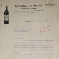 Lettere commerciali: CARTA COMERCIAL. LORENZO TURANZAS. IMPORTADOR DE VINOS. MEXICO 1927. Lote 199520538