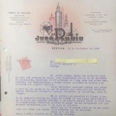 Lettres commerciales: 5 CARTAS COMERCIALES FÁBRICA DE PARAGUAS , ABANICOS... JOSÉ RUBIO. SEVILLA . AÑOS 20,30 Y 40. Lote 199618781