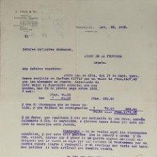 Lettres commerciales: CARTA COMERCIAL. L. TOUS & Cº. GUAYAQUIL 1915. Lote 200403420