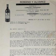 Lettere commerciali: CARTA COMERCIAL. ROMANO Y ALVAREZ. SUC. DE LORENZO TURANZAS. IMPORTADORES VINOS. MEXICO 1933. Lote 200403591