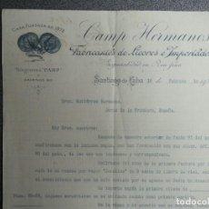 Cartas comerciales: SANTIAGO DE CUBA LOTE 3 CARTAS COMERCIALES AÑO 1902 LICORES CAMP HERMANOS. Lote 200891447