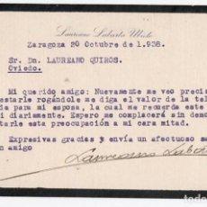 Cartas comerciales: ZARAGOZA A OVIEDO. 1938. GUERRA CIVIL. . Lote 201140208