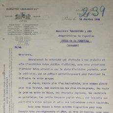 Lettres commerciales: CARTA COMERCIAL. DUBUFFET, LAGRANGE & Cª. PARÍS 1922. Lote 201143411
