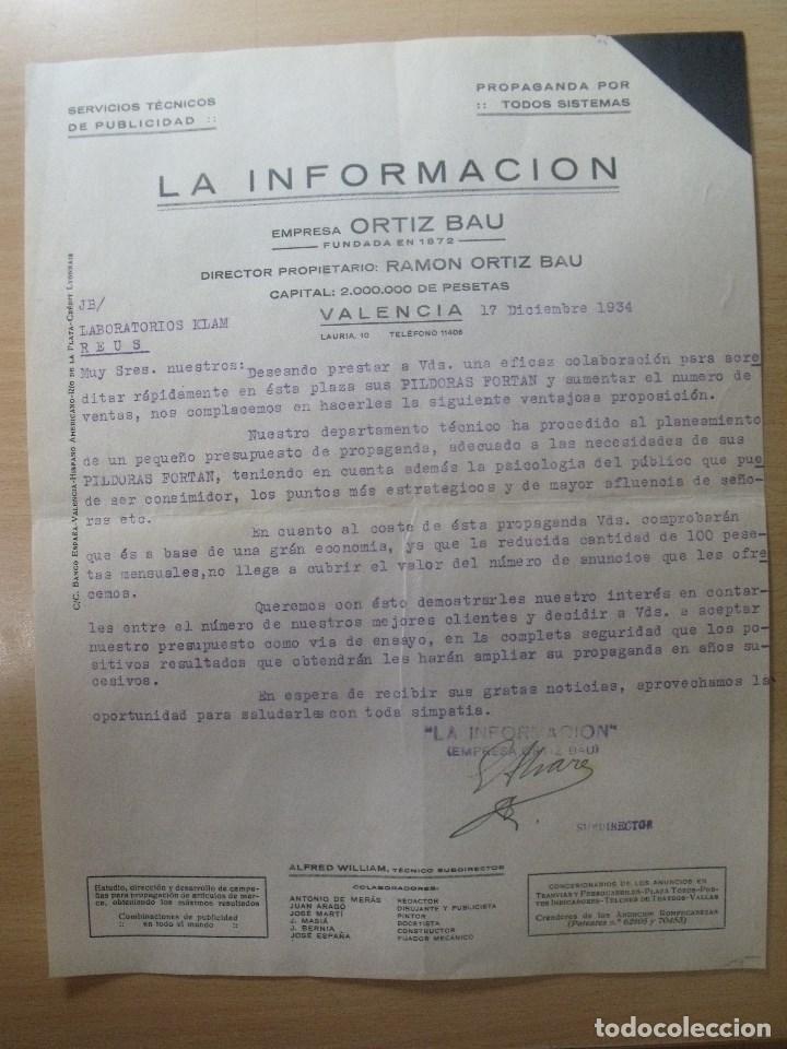 CARTA COMERCIAL 1934 LA INFORMACION VALENCIA (Coleccionismo - Documentos - Cartas Comerciales)